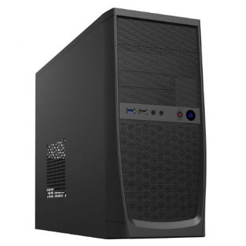 Elite Micro ATX Case, 500W, Front USB 3.0, 8cm Fan, Mesh Front, Black